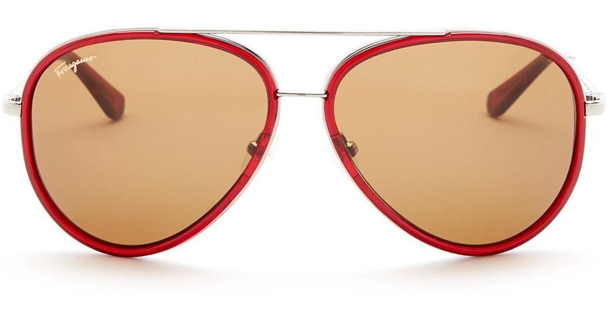 Lyst - Ferragamo Men\'s Metal Frame Aviator Sunglasses in Red for Men
