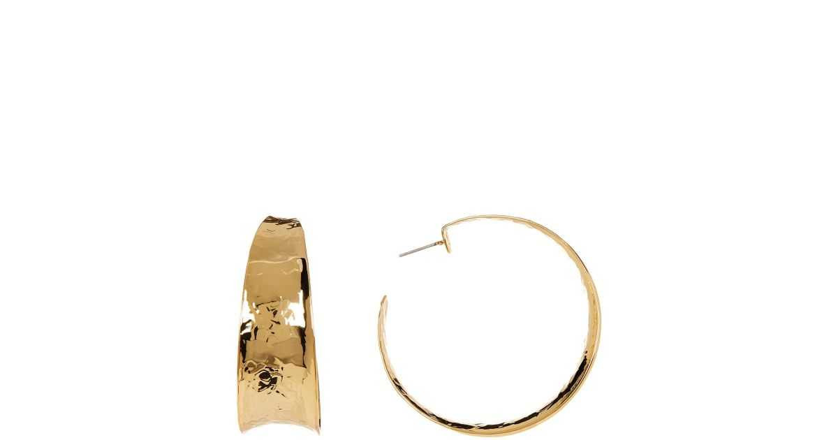 Nest Hammered Brass Graduated Hoop Earrings hEwXUzxC
