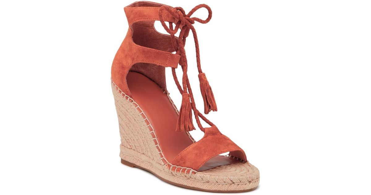 61f9589a014 Lyst - Joie Delilah Espadrille Suede Wedge Sandal in Red