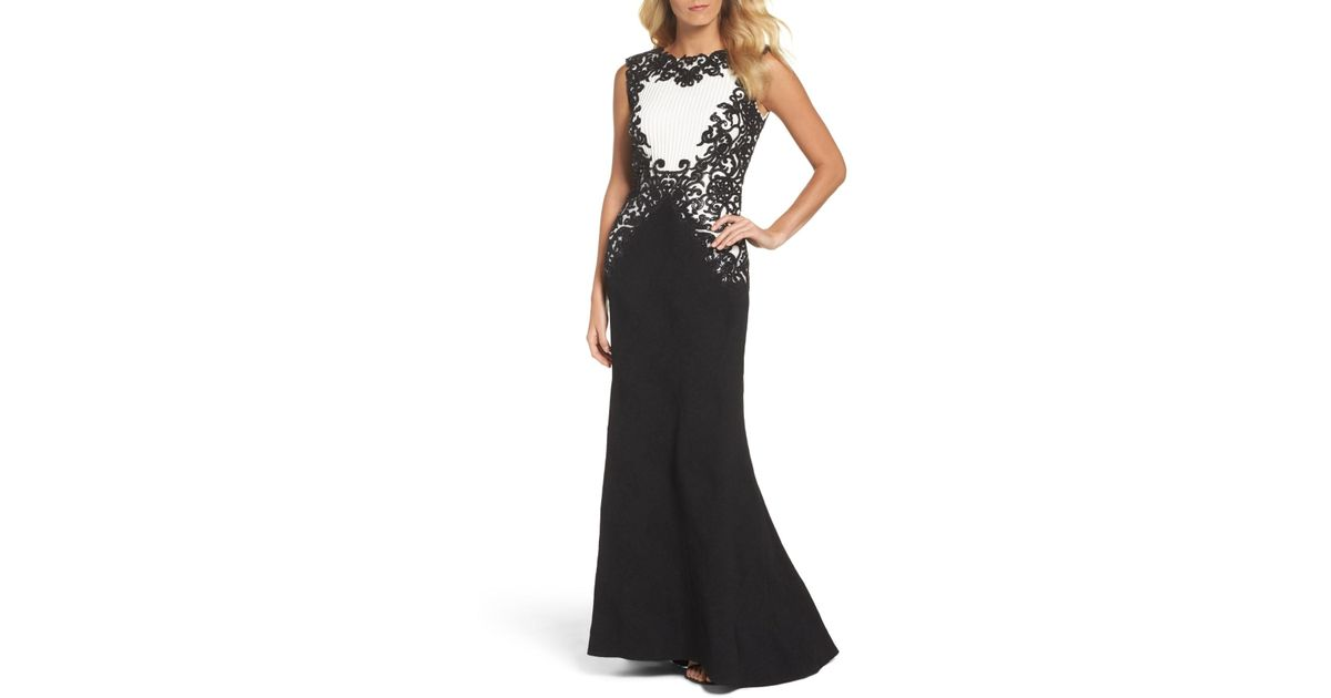 a97384b9 Lyst - Tadashi Shoji Sequin Embroidered Textured Crepe Gown in Black