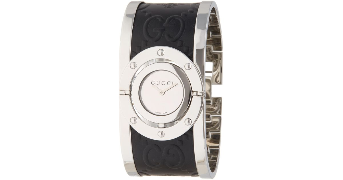 81689f3da1f Lyst - Gucci Women s Twirl Collection Leather Bangle Watch
