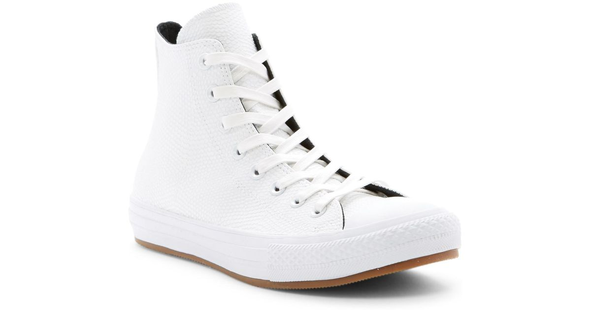 6c4c9238e906 Lyst - Converse Chuck Taylor All Star Snake Embossed Leather High Top  Sneaker (unisex) in White
