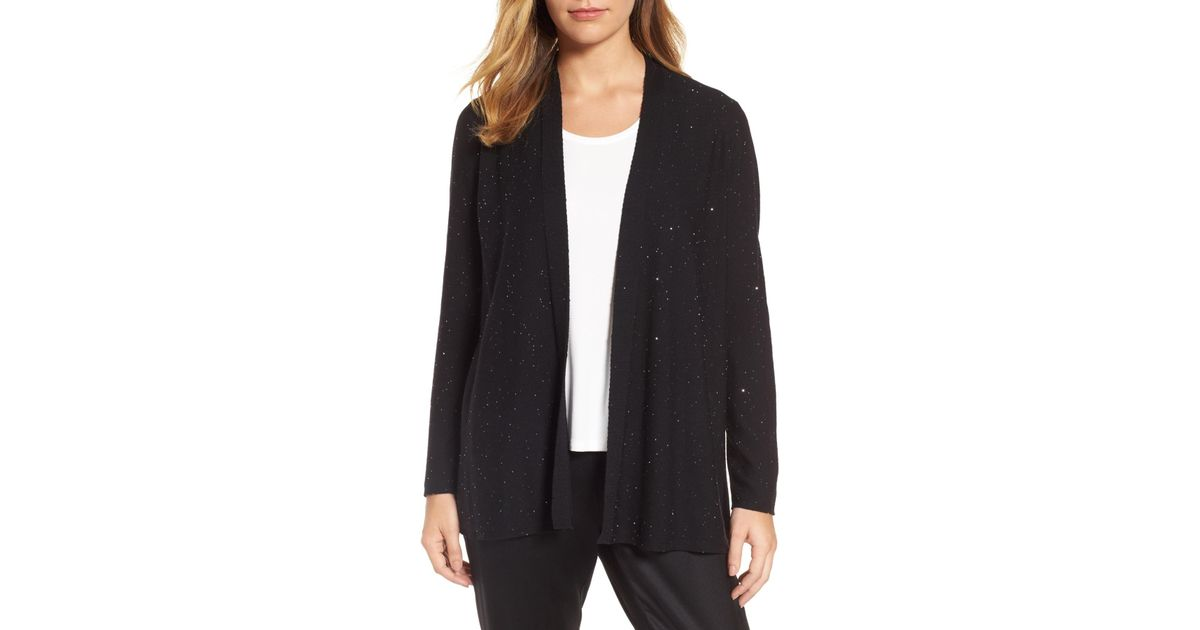 4fb7de1d0f9d Lyst - Eileen Fisher Sequin Merino Wool Cardigan (regular & Petite) in Black