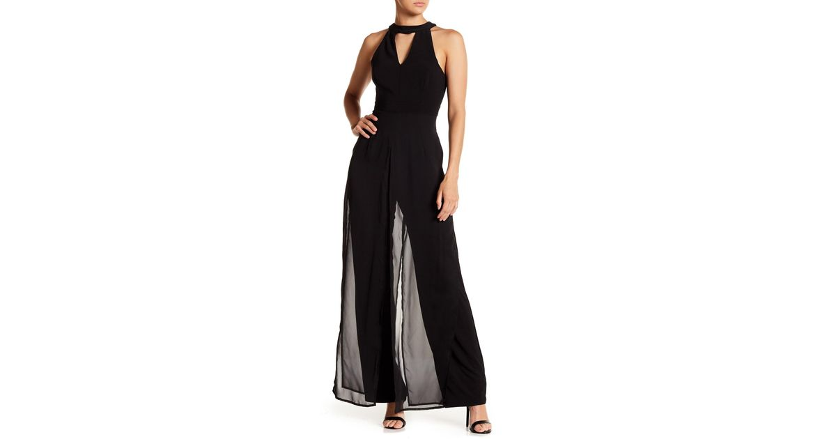 3aa552bef3c0 Lyst - Marina Chiffon Overlay Jumpsuit in Black