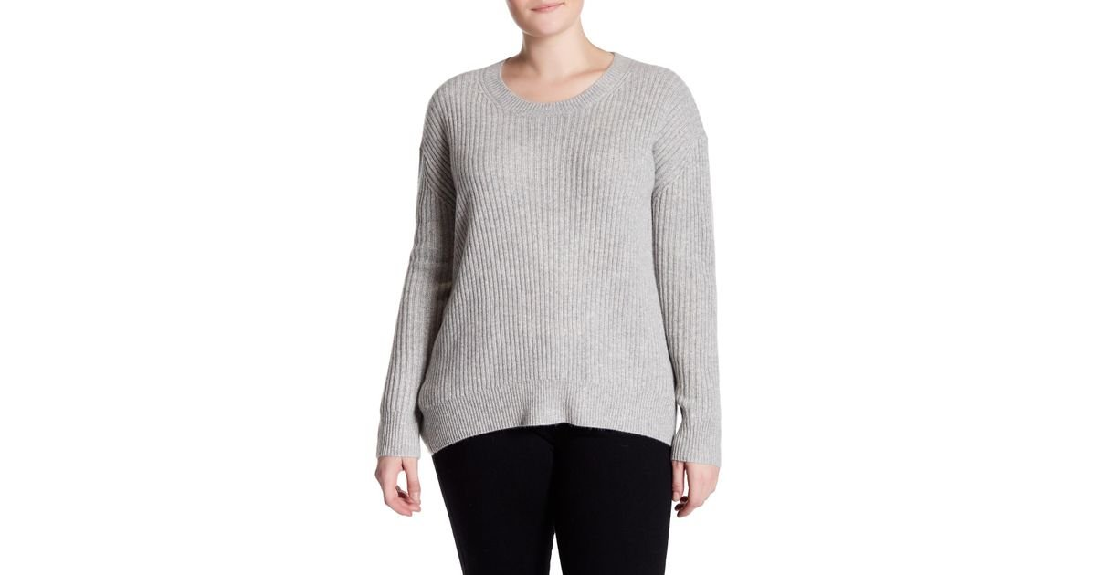 00584ad992d Lyst - NAKEDCASHMERE Olive Ribbed Cashmere Sweater (plus Size) in Gray