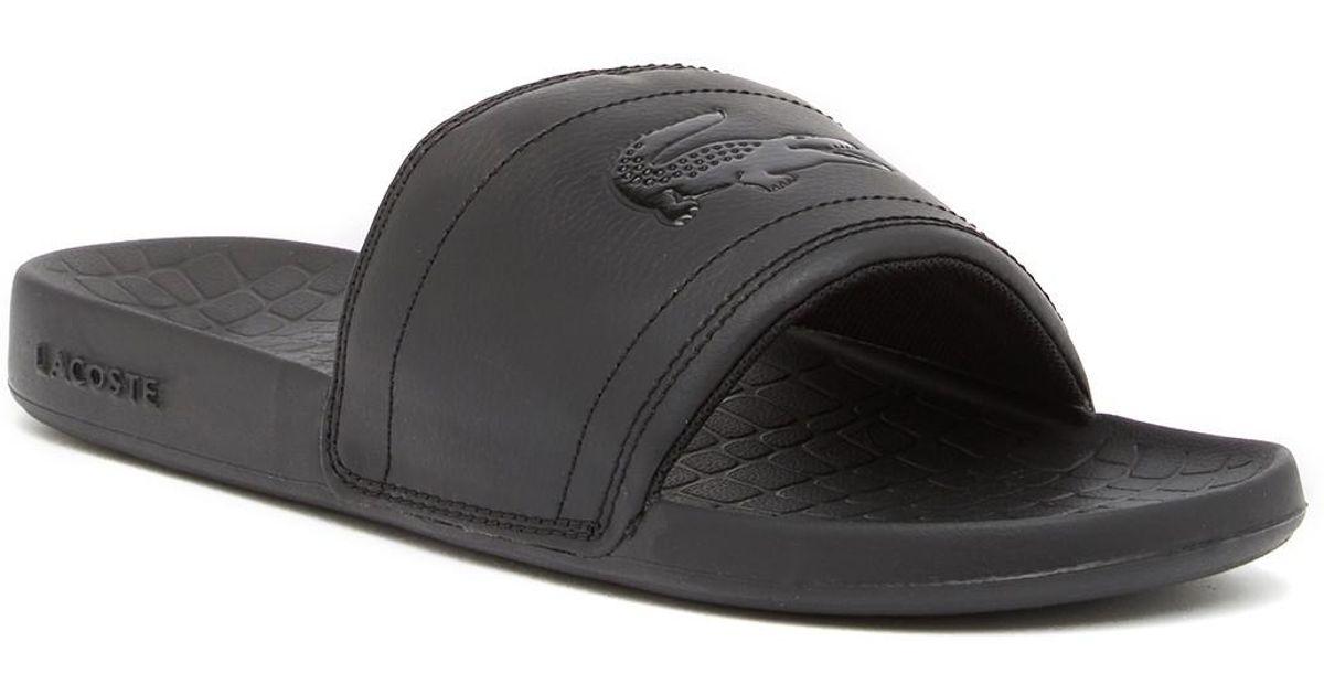 c0aaf5ad4077 Lyst - Lacoste Fraisier 118 Slide Sandal in Black for Men - Save 44%