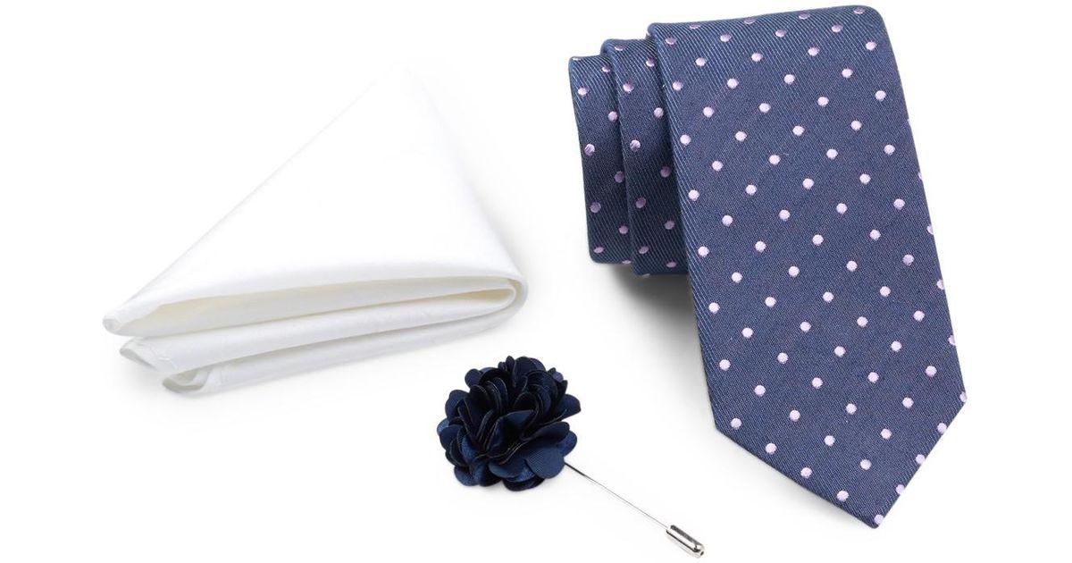 3977df23e604 Lyst - Ben Sherman Dot Tie, Solid Pocket Square, & Lapel Pin Box Set in  Blue for Men