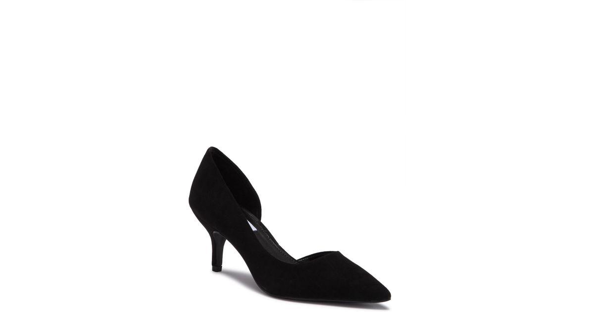 20ffa422496 Lyst - Steve Madden Flory Suede Kitten Heel Pump in Black