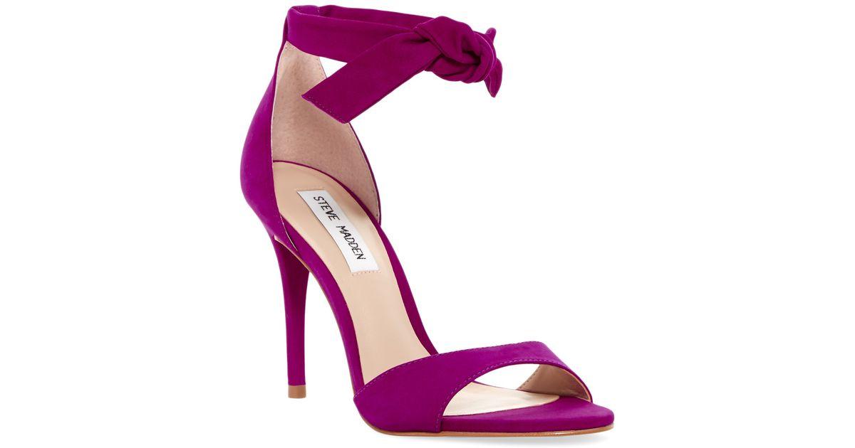 7b3231beeee Lyst - Steve Madden Bowwtye Heel Sandal in Purple