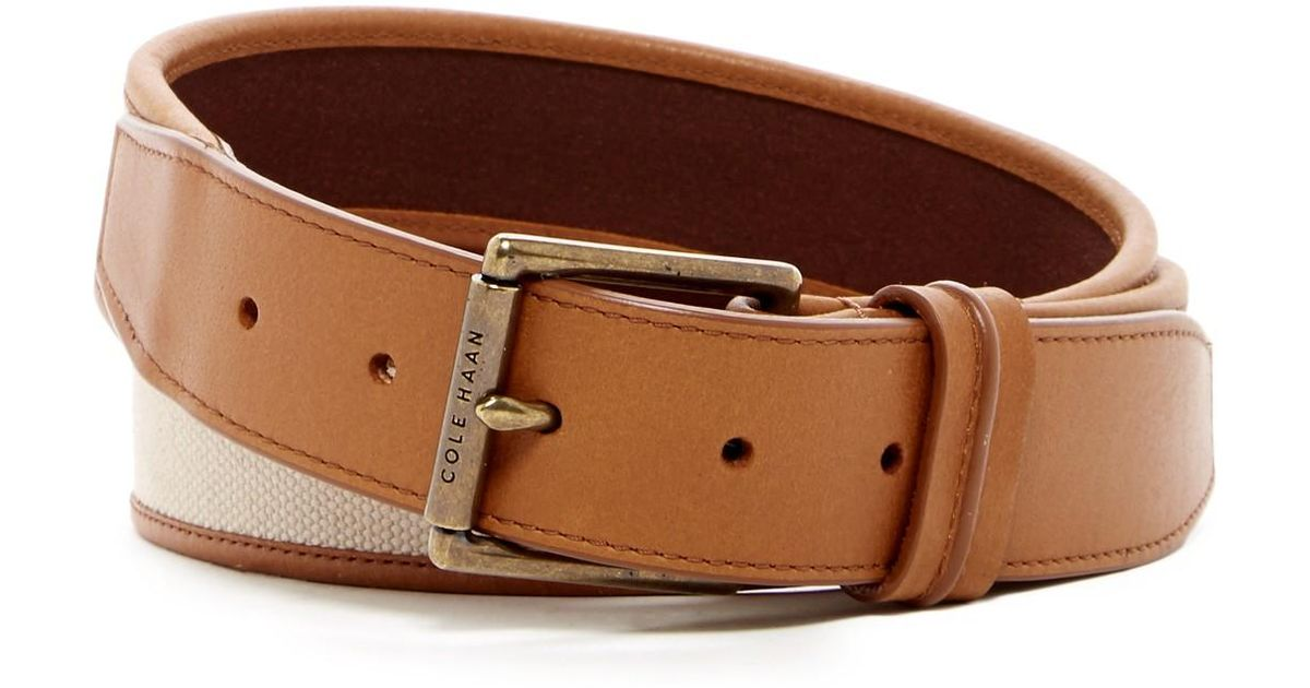 cole haan flat canvas leather belt in brown for lyst