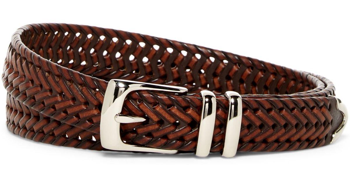Original Penguin Bonded Leather Woven Belt In Brown For