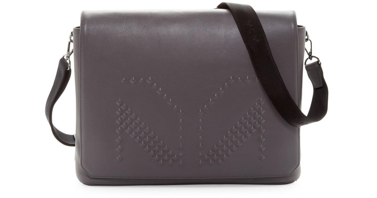 Lyst - MCM M. Moment Leather Messenger in Gray for Men 1663974256