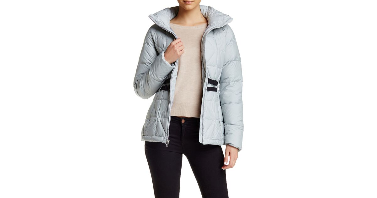 the north face belted mera peak jacket in gray lyst