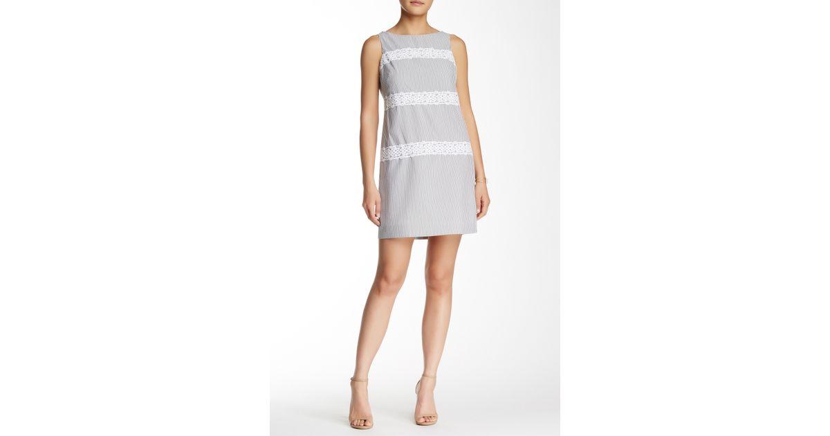 5f7d21b693f8 Lyst - Maggy London Seersucker Shift Dress (petite) in Gray