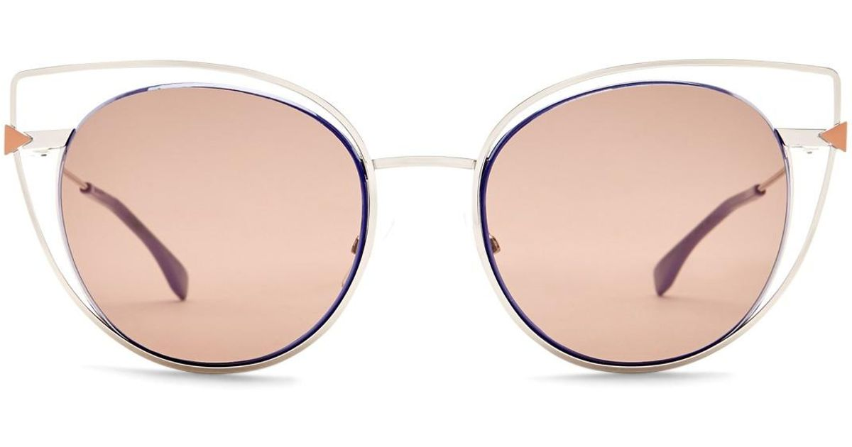 4dc1b93e75 Fendi Women s 53mm Cutout Cat Eye Sunglasses - Lyst