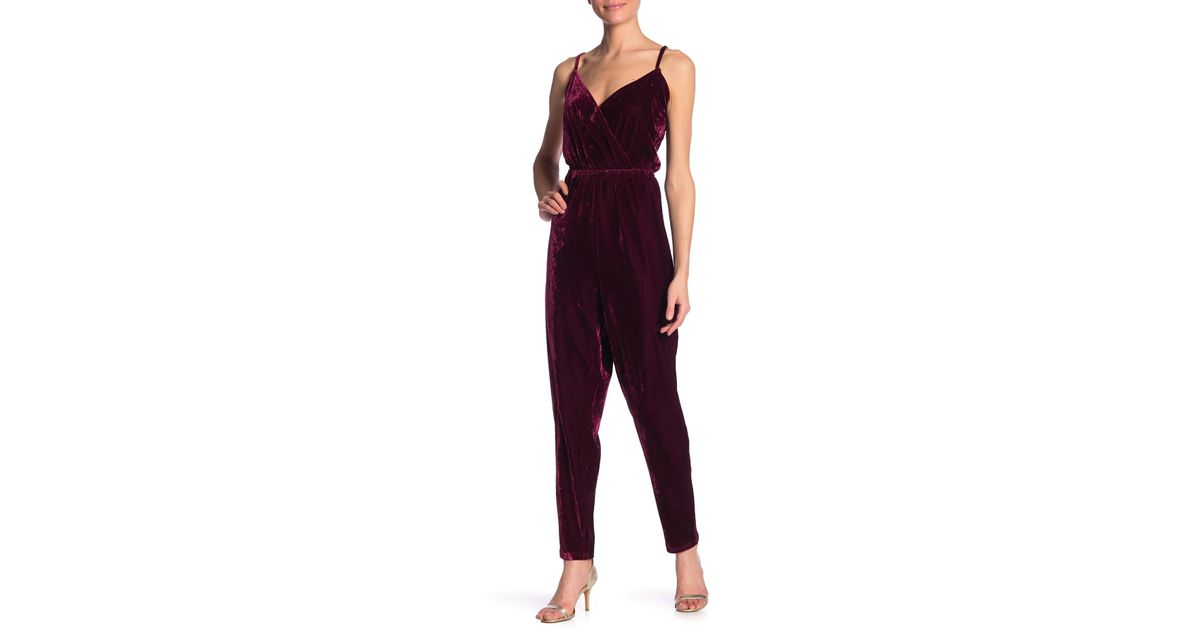 b948f52796a1 Lyst - Cupcakes And Cashmere Cameo Velvet Jumpsuit in Red