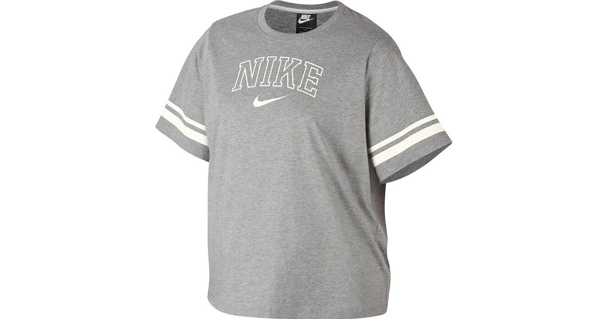 b28a61df6ad Lyst - Nike Nsw Short Sleeve Varsity Top (plus Size) in Gray