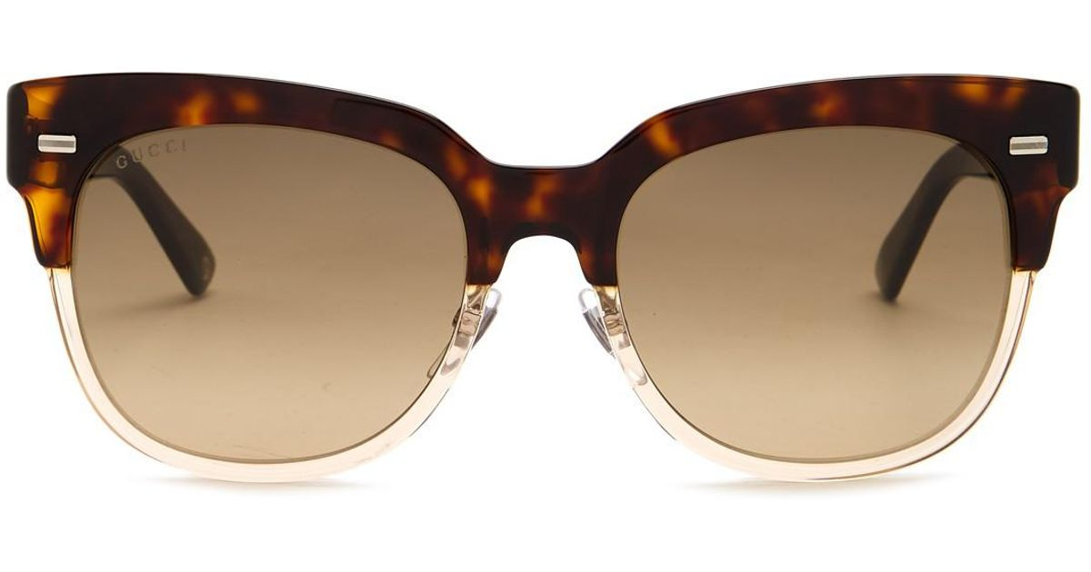1dcadf8e2d7 Lyst - Gucci Women s Clubmaster 52mm Acetate Frame Sunglasses in Brown