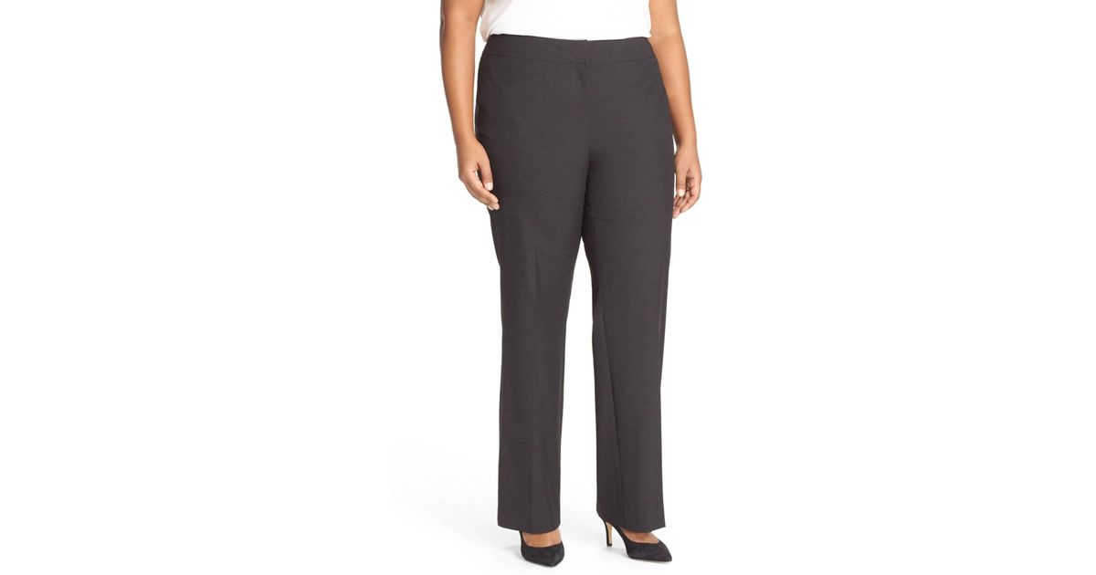 9ff4012af8c Lyst - Sejour  ela  Stretch Curvy Fit Wide Leg Suit Pants (plus Size   Petite  Plus) in Gray