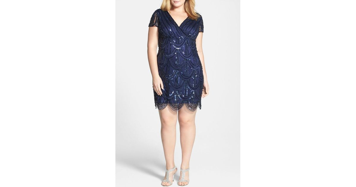 Lyst - Marina Beaded Empire Waist Dress (plus Size) in Blue