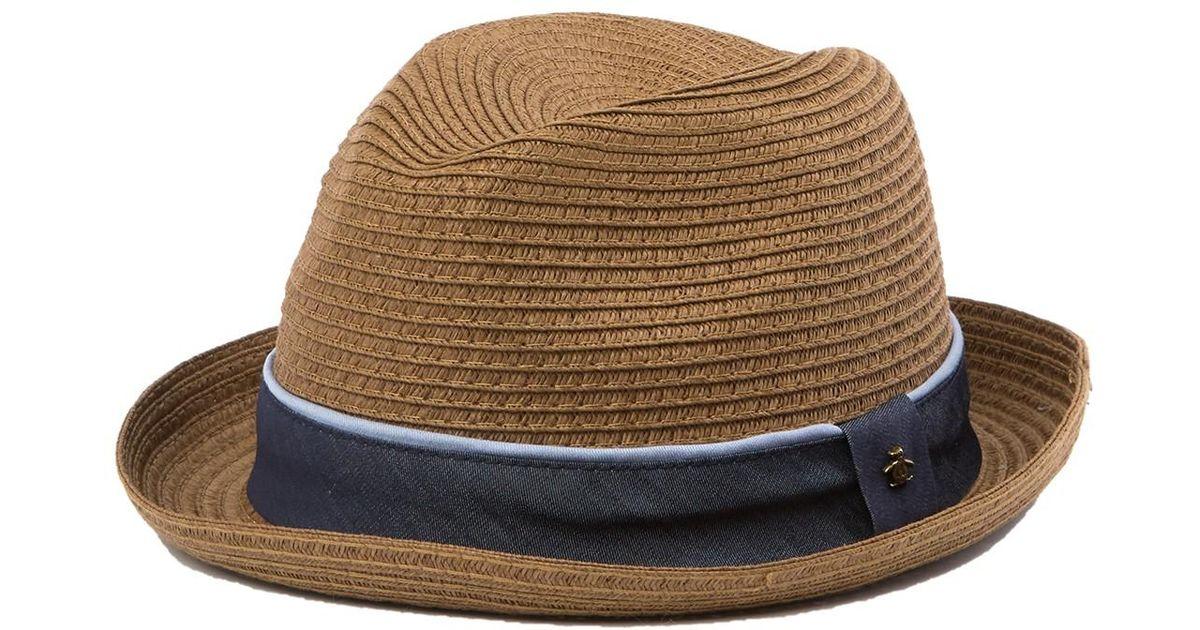 9313172a90ab3 Lyst - Original Penguin Straw Porkpie Hat in Brown for Men