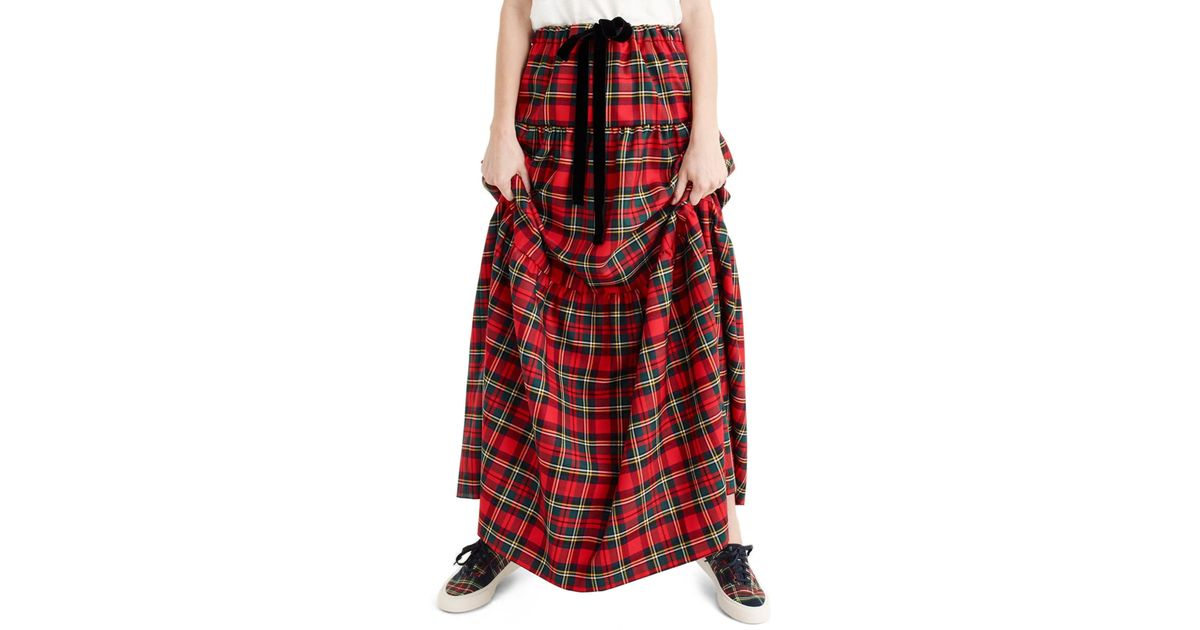 441ee98f5e J.Crew Tartan Plaid Tiered Maxi Skirt (regular & Petite) in Red - Lyst
