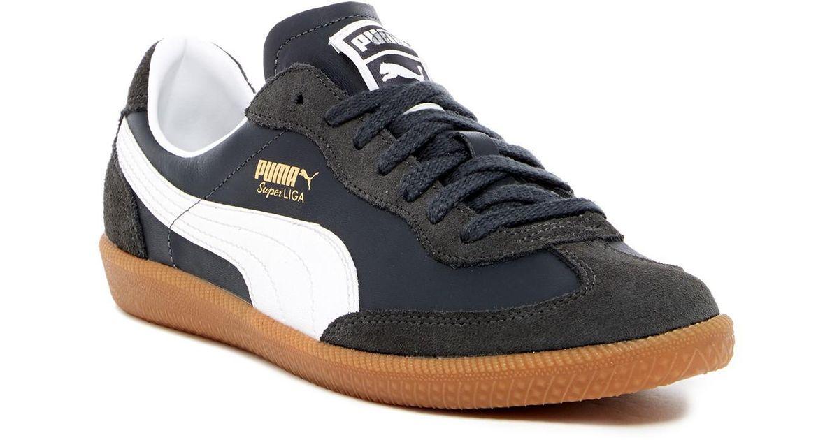 Men's Blue Super Liga Og Retro Leather & Suede Sneaker by Puma