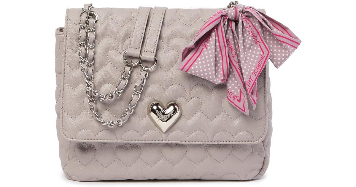 9671440cb07 Betsey Johnson Quilted Heart Shoulder Bag With Scarf - Lyst