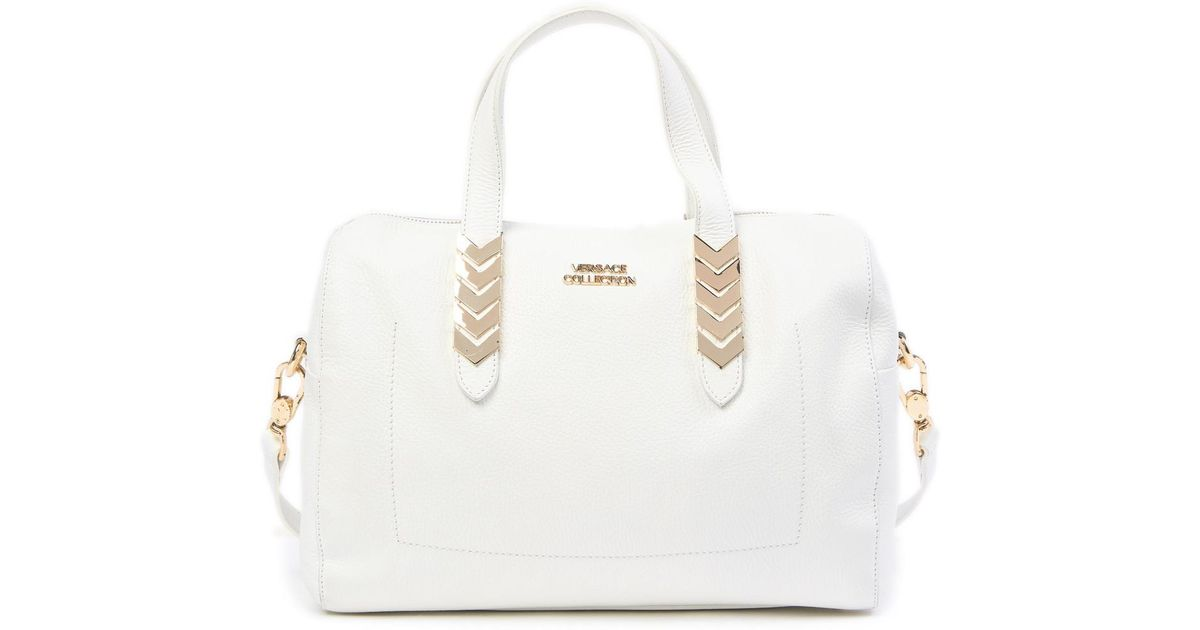 99c9523d95 Lyst - Versace Collection Vitello Leather Satchel in White