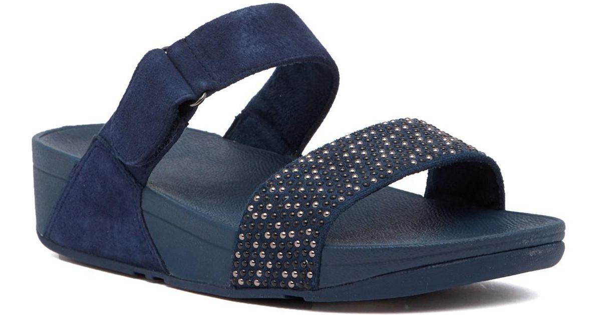 b1c0178557e9ec Lyst - Fitflop Lulu Popstud Slide Sandal in Blue