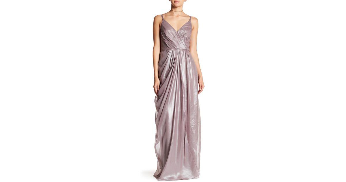 87587083d35d Vera Wang Metallic Chiffon Gown - Lyst