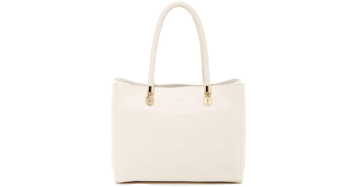 3f27559fdeb Lyst - Cole Haan Benson Large Leather Tote in White