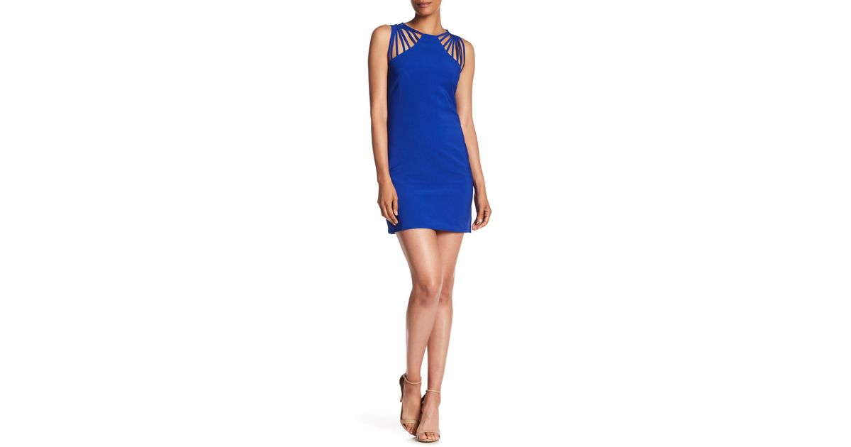 d673a40f Lyst - Dress the Population Cora Strappy Shoulder Sheath Dress in Blue