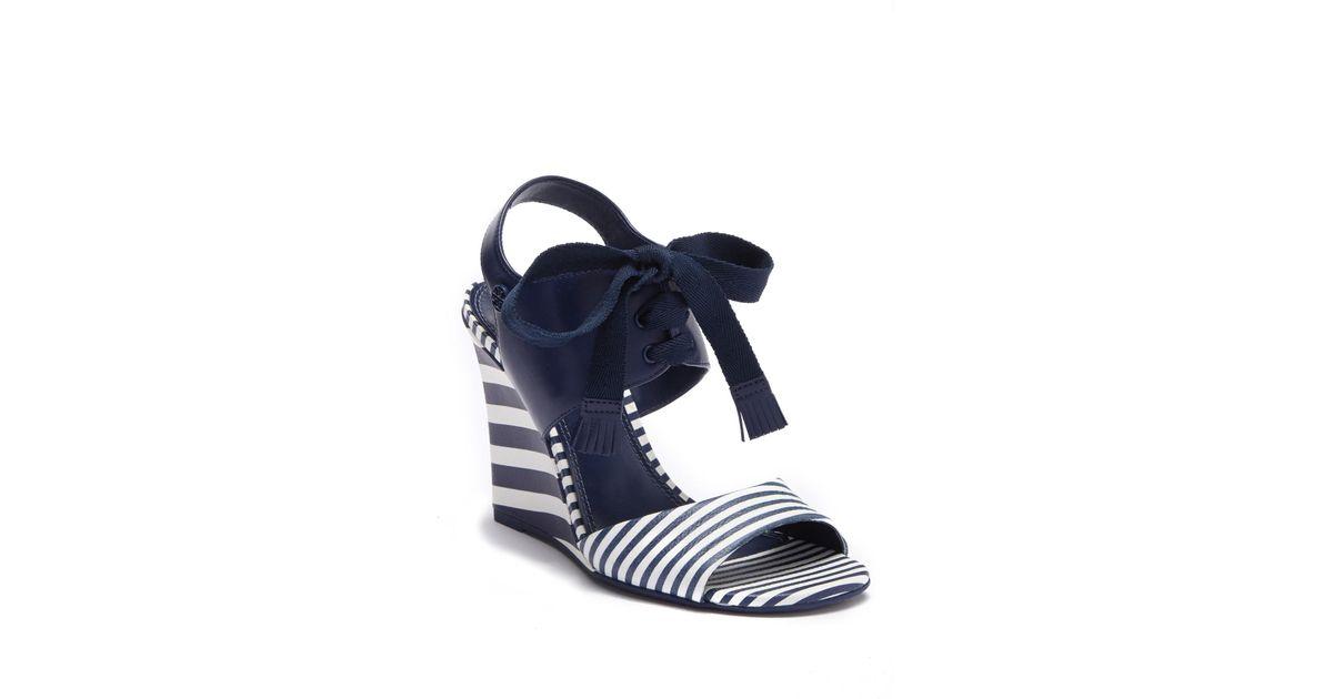 87020770b26 Lyst - Tory Burch Maritime Stripe Wedge Sandal in Blue