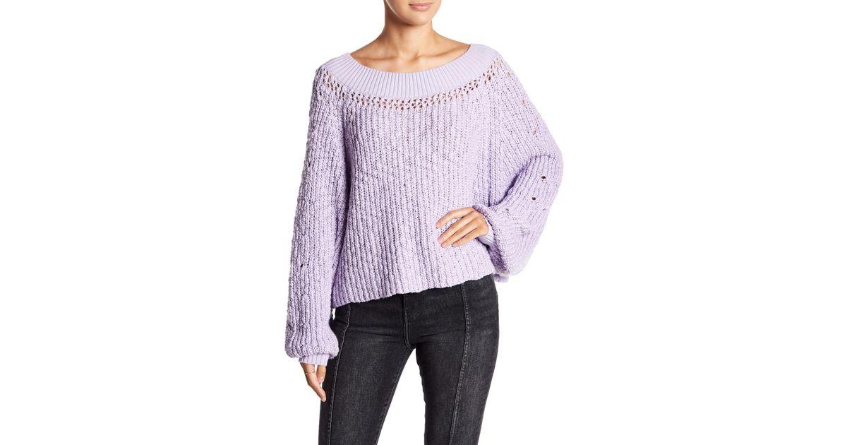 f2467e58a00 Lyst - Free People Pandora s Boatneck Sweater in Purple