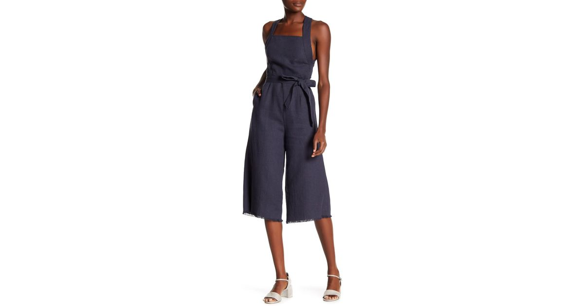 14575423bff5 Lyst - Lucca Couture Mckenna Linen Blend Belted Jumpsuit in Blue