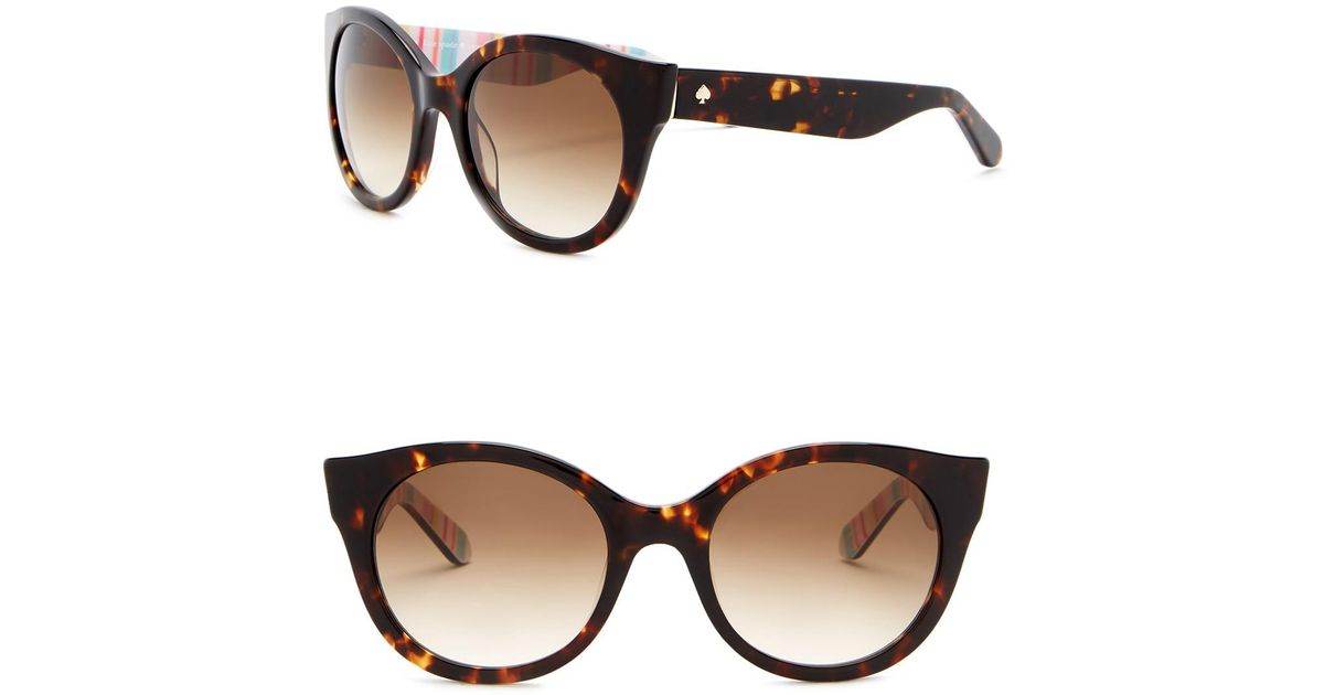 63c6dc7629 Lyst - Kate Spade Melly 53mm Round Cat Eye Sunglasses in Brown