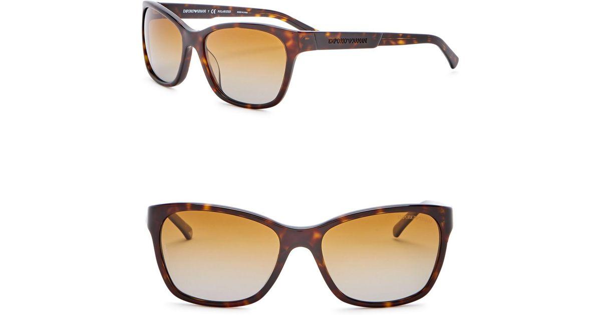 e383e7a3e41d Lyst - Emporio Armani 56mm Wayfarer Acetate Frame Sunglasses in Brown