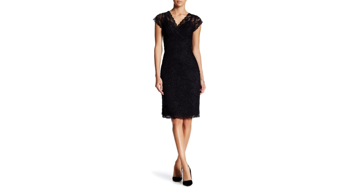 Marina Black Beaded Lace Bodycon Dress Lyst