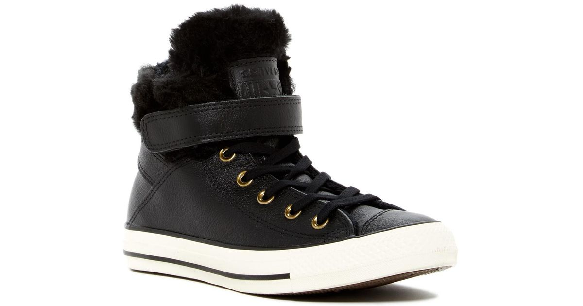 823e32226fd1 Lyst - Converse Chuck Taylor All Star Faux Fur Lined Leather High-top  Sneaker in Black for Men