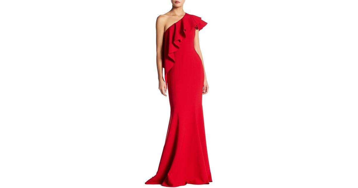 7f017be2b90 Lyst - Jay Godfrey Taj Ruffle Popover Gown in Red