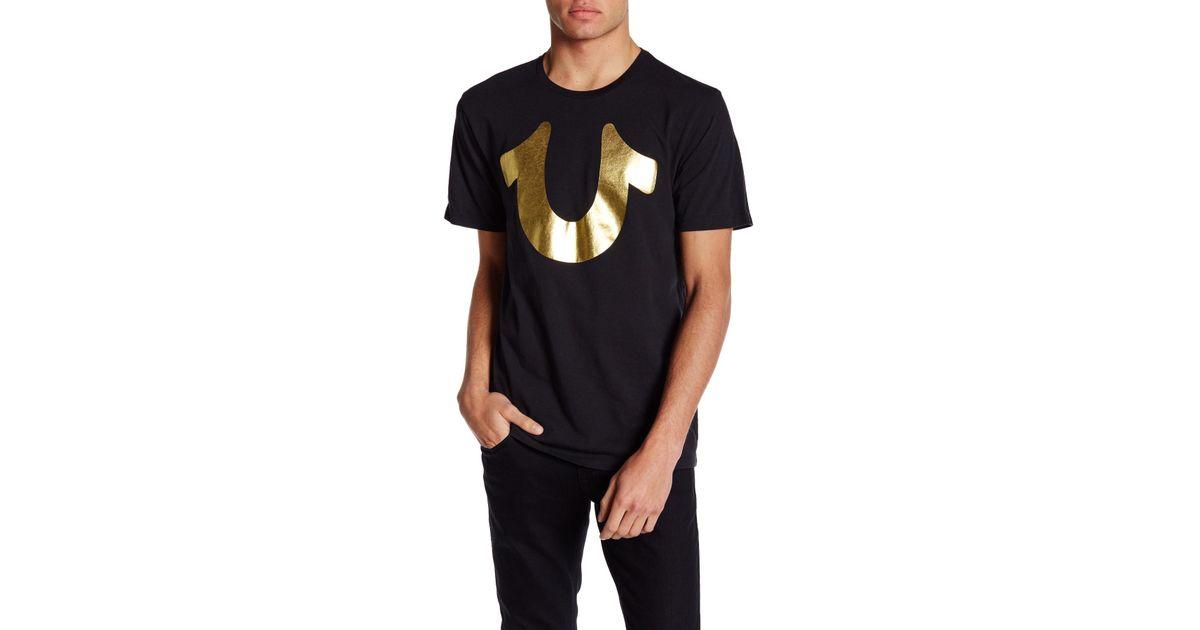 bd788885 True Religion Short Sleeve Gold Horseshoe Tee in Black for Men - Lyst