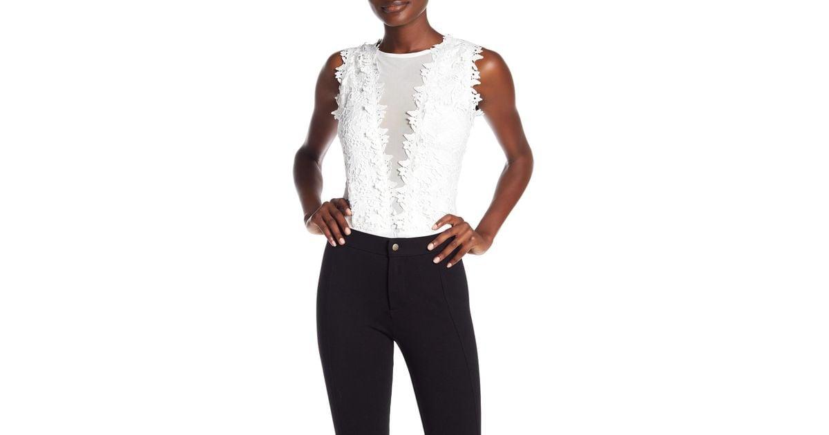 Lyst gracia crochet lace applique mesh bodysuit in white