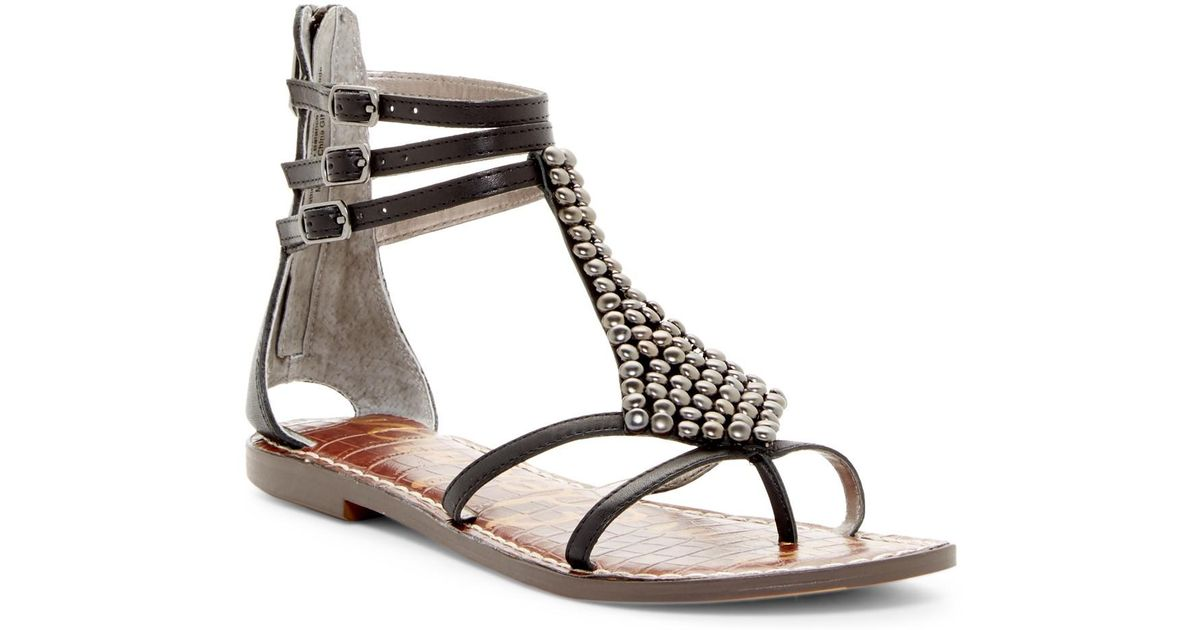 2a40ff71488 Lyst - Sam Edelman Ginger Beaded Gladiator Sandal in Black
