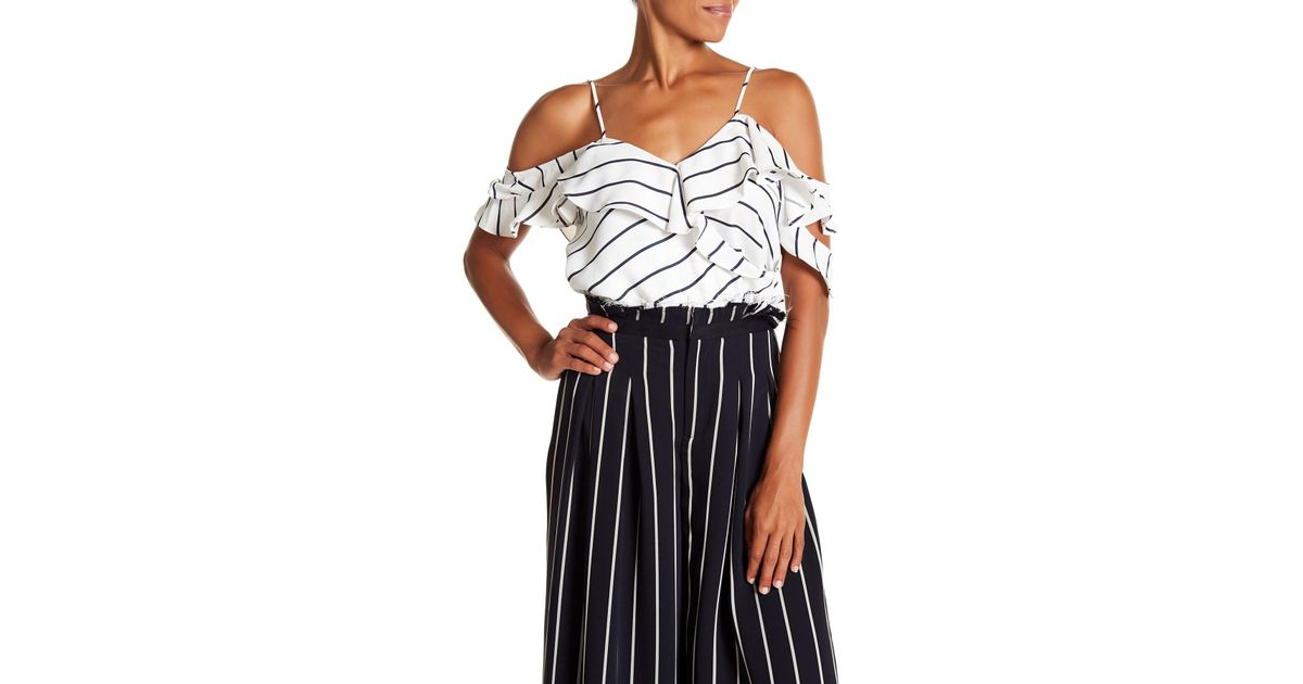 8ed4e0f65e816 Lyst - Kendall + Kylie Pinstripe Ruffle Wrap Cold Shoulder Camo Blouse in  White