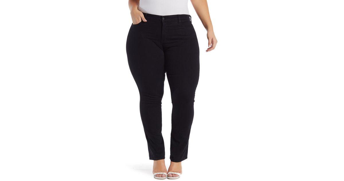 af350ebafae Lyst - NYDJ Marilyn Rhinestone Embellished Straight Leg Jeans (plus Size)  in Black