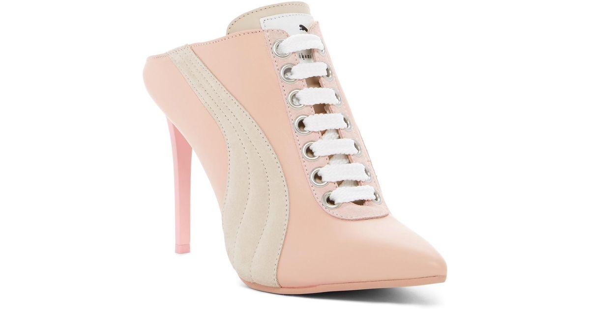 d4579470472 PUMA - Pink Lace Up Mule Heel (women) - Lyst