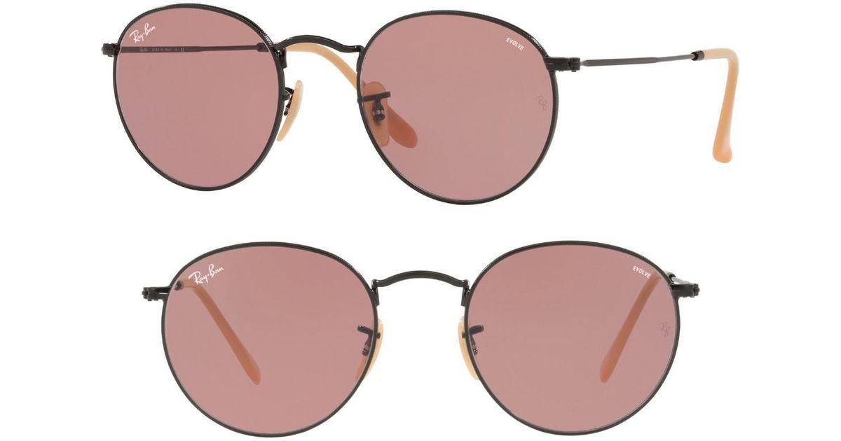 a6aec8e66f818 Ray-Ban 53mm Evolve Photochromic Round Sunglasses in Purple - Lyst