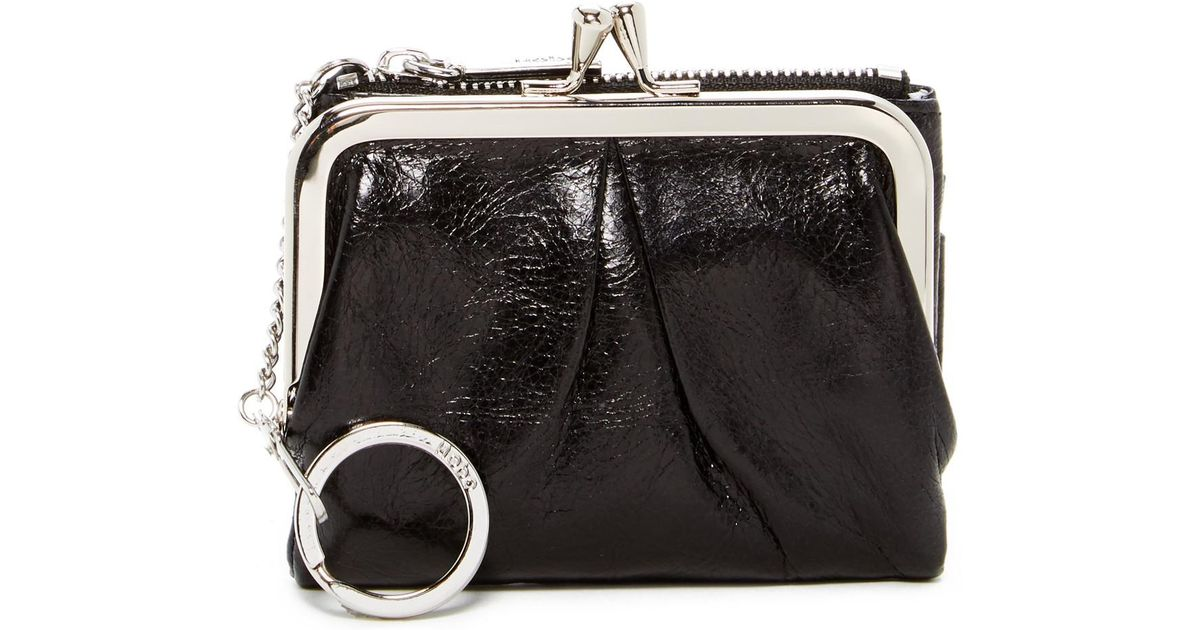 0abfcc523854 Lyst - Hobo Peg Leather Wallet in Black