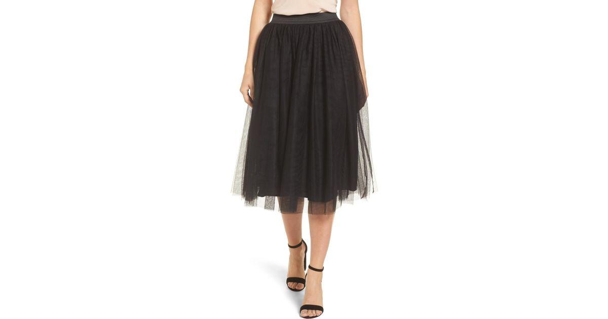 d0b24062e Halogen (r) Tulle Midi Skirt (regular & Petite) in Black - Lyst